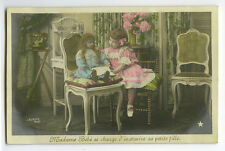 c 1910 Cute Little GIRL w/ BIG DOLL Antique French tinted photo postcard