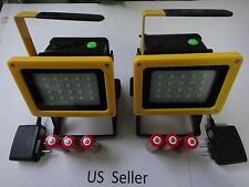 2X-Rechargeable cordless outdoor 30W 20 LED 2400 LM work light flood lamp 18650