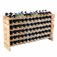 Wood 72 Bottle Wine Rack Stackable Storage 6 Tier Display Shelves cellar Shelf