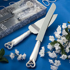 Interlocking Hearts Design Cake Knife Server Serving Set Wedding ENGRAVING Gift