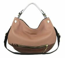 $268 NWT orYANY Olivia Leather Convertible Shoulder Bag with Strap in Nude Multi