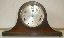 German Oak Westminster Chime Tambour Mantle Clock by Gebr. Peterson