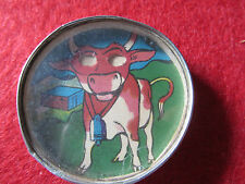 ANCIEN JEU DE PATIENCE A BILLE  MIROIR DECOR DE VACHE