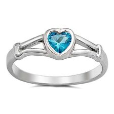 .925 Sterling Silver Ring size 1 Heart Kids Aquamarine Baby Ladies Midi New j07