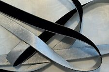 "1/2"" DOUBLE COLOR VELVET/SATIN RIBBON- BLACK / SILVER - by the yard"