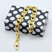 """Charms 18K Yellow Gold Filled Men's Bracelet Curb Chain 10MM Cool 9""""Link Jewelry"""