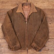 "Very Rare Mens Vintage 1930s Talon Zip 'Outwareknit' Suede Leather S 36"" R2879"