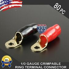 0 Gauge Gold Ring Terminal 80 Pack 1/0 AWG Wire Crimp Red Black Boots 5/16