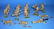 BRITAINS LEAD FIGURES - WWII BRITISH SOLDIERS ATTACKING w GAS MASKS