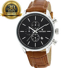 Original Vincero Chronograph Black&Tan Men's Watch Genuine Leather Strap Gift