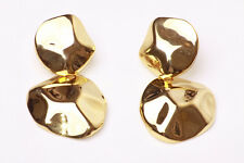EXQUISITE GOLD TONE 'TURTLE SHELL' STATEMENT EARRINGS LIGHTWEIGHT & CHIC (ZX27)