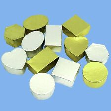 Decorate-Your-Own Christmas Gift Boxes X12 - Gold and Silver, Various Shapes