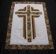"Log Cabin Cross Quilt Top~PIECED~PATCHWORK~""Gold & Brown"" Baby,Wall,Lap  30X40"