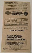 VINTAGE HARLEY DAVIDSON OIL CHANGE RECORD CARD HD 360 Tip Sheet