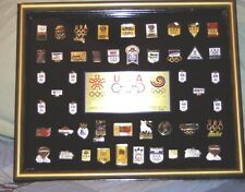 1988 CALGARY Olympic USA Corporate Sponsor Set of Pins Framed Limited Edition