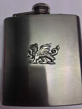 Welsh Dragon PP-G51 English Pewter 6oz Stainless Steel Hip Flask