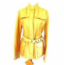 J-1408630 New Tods Mustard Zipper Leather Jacket Coat Size Large MSRP $4000