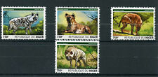 Niger 2015 MNH Hyenas 4v Set Fauna Wild Animals Striped Spotted Hyena Stamps