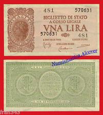 ITALIA ITALY 1 lira lire 1944 Pick 29b  SC-  /   A/UNC
