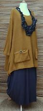 LAGENLOOK OVERSIZE WOOL MIX BEAUTIFUL 2 POCKETS JUMPER/TUNIC*MUSTARD* L-XL-XXL