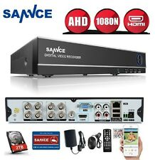 SANNCE 8Ch AHD Hybrid 1080N Network CCTV DVR for IP/AHD/Analog Camera 2TB HDD