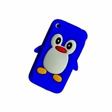 Azul Oscuro Apple iPhone 3/3G/3GS Pingüino Silicona Funda Cubierta