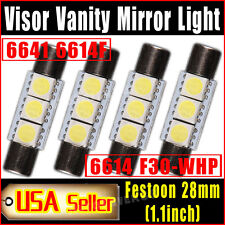 4 X Pure White Fuse Festoon 28mm-29mm 5050 3SMD SunVisor Vanity Mirror LED Light
