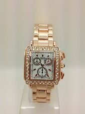 Ladies Geneva Square Rose Gold Metal Band Fashion Style Glitz Stones Watch LG1