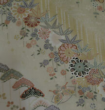 Japanese vintage kimono silk fabric Golden Blossom, Pine Trees and Chrysanthemum