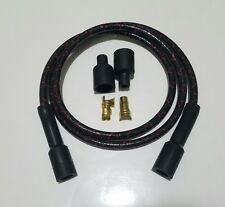 """40"""" STRAIGHT VINTAGE BRAIDED CLOTH BLACK RED SPARK PLUG WIRE 7MM KIT COPPER CORE"""