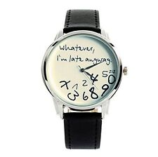 """ Whatever, Im late anyway ""Print Leather Women Men Sliver Quartz Watch Black w/"