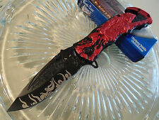 Dark Side Ballistic Assisted Red Grim Reaper Tactical Rescue Pocket Knife A023RD