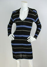 Todd Oldham Vtg 90's Sz M Blue/Black Striped Rayon Jersey Long Sleeve Dress
