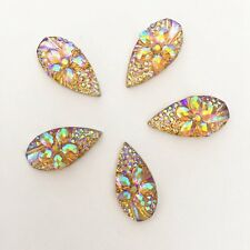 20PCS AB flower 10mm*20mm Flatback Resin Teardrop Rhinestone Wedding decoration