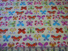 3 Yards Quilt Cotton Fabric - Timeless Treasures Colorful Butterflies on Yellow