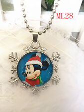 Disney mickey mouse princess round glass Pendant silver Chain necklace ML 28 .