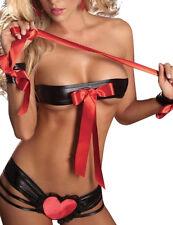 Très sexy noir et rouge en cuir synthétique & ruban menottes et TEDDY / nuisettes 8-10