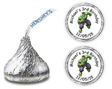 108 INCREDIBLE HULK PERSONALIZED HERSHEY KISSES CANDY FAVORS LABELS
