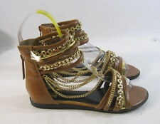 new Summer TAN/Gold NEW WOMEN FASHION ankle straps Gladiator SANDALS SIZE  8