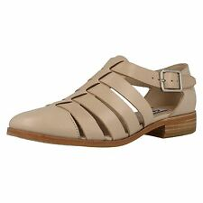 NEW CLARKS Hotel Bustle Beige Leather Flat Closed Back Sandals Open Shoes sz 7
