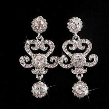 Vintage Clear Crystal Bridal Earrings Rhinestone Dangle Wedding Stud Earrings