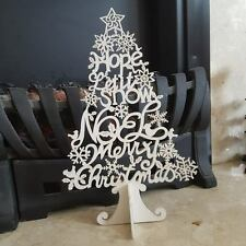 WHITE GLITTER MERRY CHRISTMAS CHIC N SHABBY TABLE TOP TREE LET IT SNOW HOPE