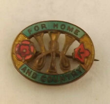 Military WWII Women's For Home And Country Home Front Lapel Badge (2938)