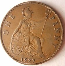 1927 GREAT BRITAIN PENNY - Excellent Vintage Coin - Britain Bin #5