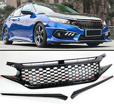 FOR 2016-17 HONDA CIVIC 10TH GEN ABS 3PC JDM 3D MESH BADGELESS FRONT HOOD GRILLE