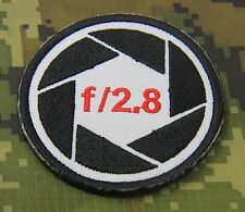 "PHOTOGRAPHER CANON NIKON LENS F 2.8  SEW ON PATCH 3X3"" P129"