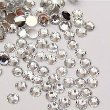 White 1000-Piece Flat Back Brilliant 14-Cut Round Rhinestones, 4mm LW