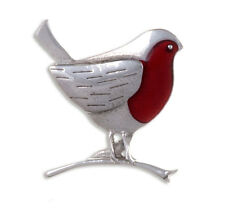 St Justin Pewter Red Enamel Robin Bird Christmas Brooch PB875 UK Made