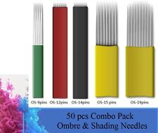 50 pcs Combo Pack of Microblading Ombre Needles including OS-9/12/14/15&19 pins