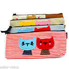Vintage Canvas Cats Pen Pencil Case Coin Purse Pouch Zipper Bag Cosmetic Makeup